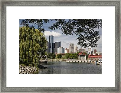Detroit Skylin And Marina  Framed Print