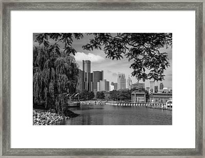 Detroit Skyline And Marina Black And White  Framed Print