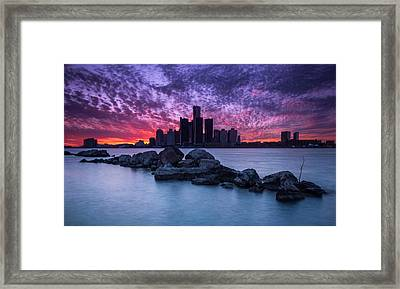Detroit Skyline Clouds Framed Print