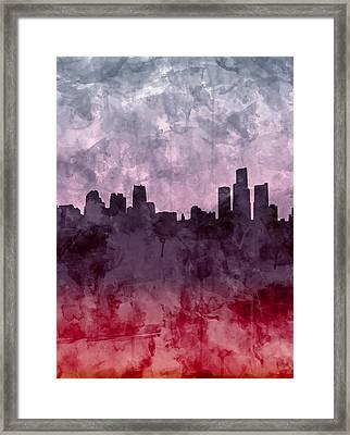 Detroit Skyline Grunge 2 Framed Print