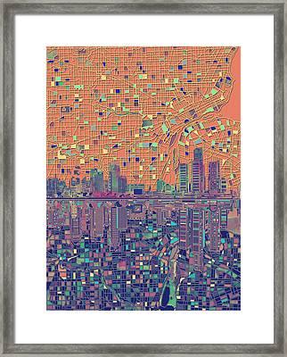 Detroit Skyline Map 3 Framed Print