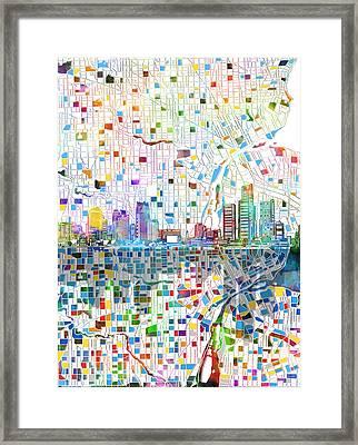 Detroit Skyline Map 4 Framed Print