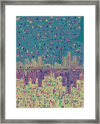 Detroit Skyline Map Framed Print