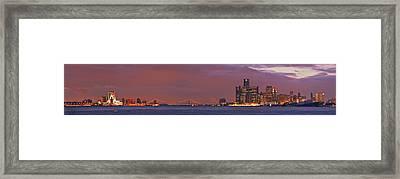 Detroit Skyline Framed Print by Michael Peychich