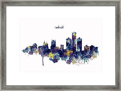 Detroit Skyline Silhouette Framed Print