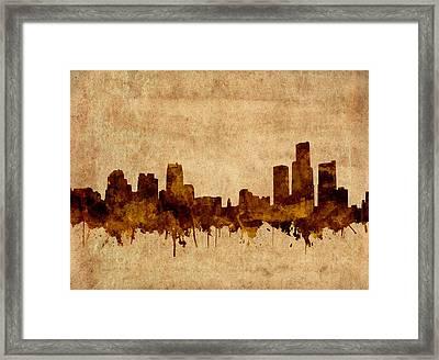 Detroit Skyline Vintage Grunge Framed Print