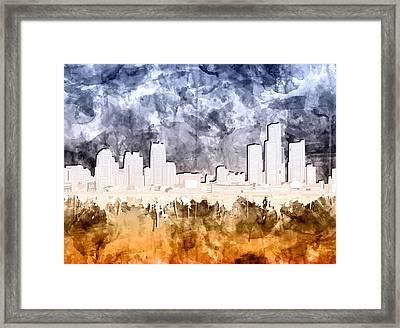 Detroit Skyline Watercolor 2 Framed Print