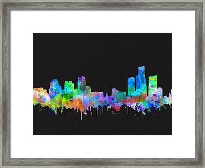 Detroit Skyline Watercolor 3 Framed Print