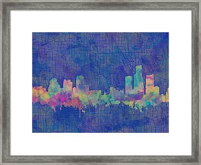 Detroit Skyline Watercolor Blue 3 Framed Print