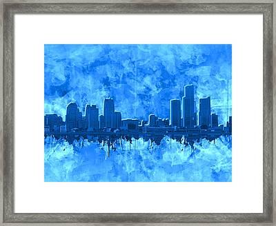 Detroit Skyline Watercolor Blue 4 Framed Print