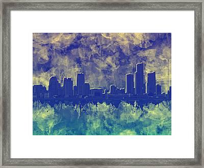 Detroit Skyline Watercolor Blue 5 Framed Print