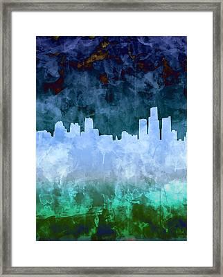 Detroit Skyline Watercolor Blue 6 Framed Print