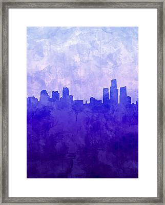 Detroit Skyline Watercolor Blue 7 Framed Print