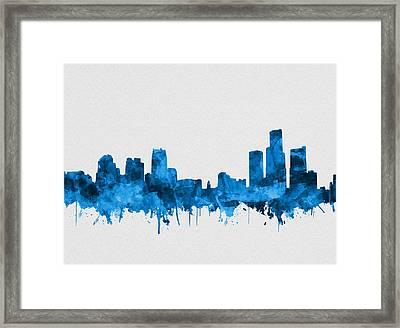 Detroit Skyline Watercolor Blue 8 Framed Print