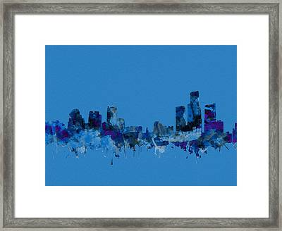Detroit Skyline Watercolor Blue Framed Print