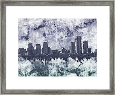 Detroit Skyline Watercolor Grunge Framed Print