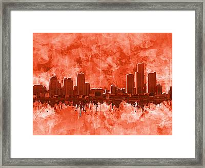 Detroit Skyline Watercolor Red Framed Print