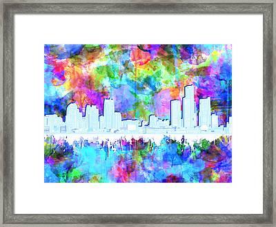 Detroit Skyline Watercolor Vibrant Framed Print