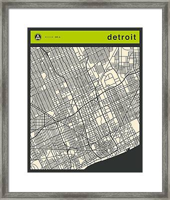 Detroit Street Map Framed Print by Jazzberry Blue