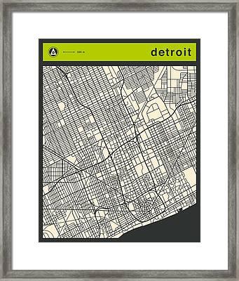 Detroit Street Map Framed Print