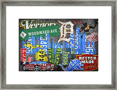 Detroit The Motor City Michigan License Plate Art Collage Framed Print
