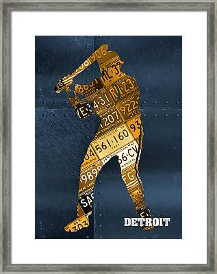 Detroit Tigers Baseball Batter Player Recycled Michigan License Plate Art Framed Print
