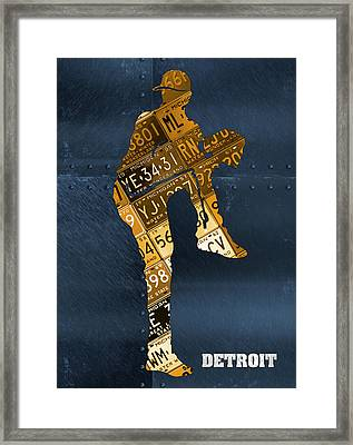 Detroit Tigers Baseball Pitcher Player Recycled Michigan License Plate Art Framed Print