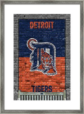 Detroit Tigers Brick Wall Framed Print by Joe Hamilton