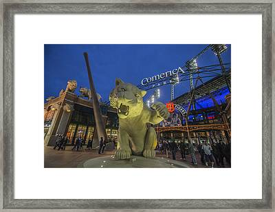 Detroit Tigers Comerica Park Front Gate Tiger Framed Print by David Haskett