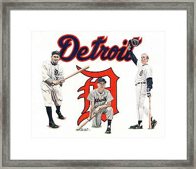 Detroit Tigers Legends Framed Print by Chris Brown