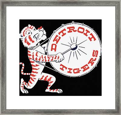 Detroit Tigers Vintage Drum Poster Framed Print by Big 88 Artworks