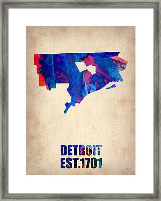 Detroit Watercolor Map Framed Print by Naxart Studio