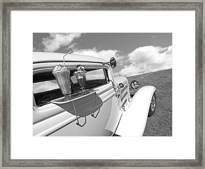 Deuce Coupe At The Drive-in Black And White Framed Print