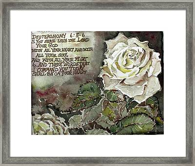 Framed Print featuring the painting Deuteronomy 6 by Mindy Newman