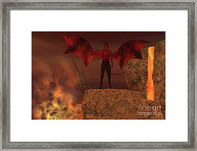Devil Creature In Hell Framed Print by Corey Ford
