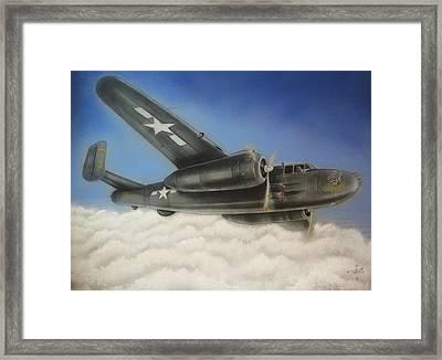 Devil Dog Airplane In Flight Framed Print