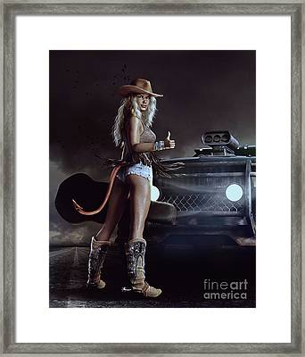 Devil In Blue Jeans Framed Print by Shanina Conway