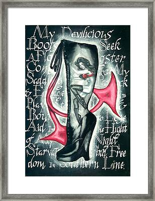Devilicious Boot Framed Print by Scarlett Royal