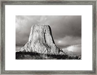 Devil's Tower Black And White Framed Print