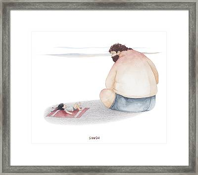 Devoted Father Framed Print by Soosh