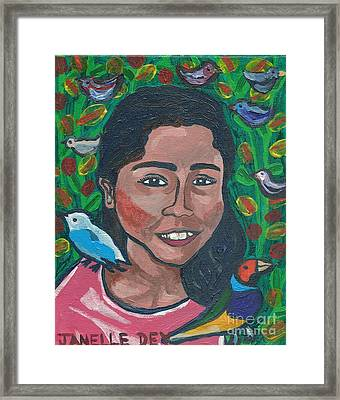 Framed Print featuring the painting Devoted To Birds by Janelle Dey