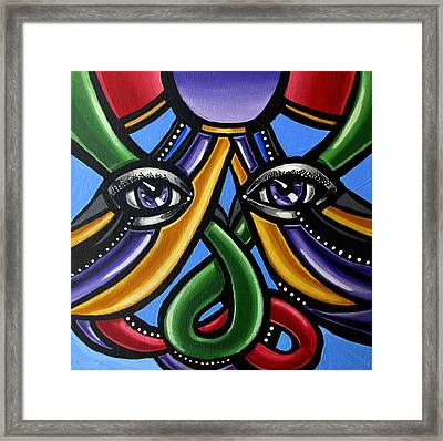 Colorful Contemporary Canvas Painting, Eyeball Artwork, Colorful Modern Art                       Framed Print