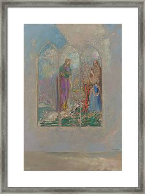Devotion Near A Red Bush  Framed Print by Odilon Redon