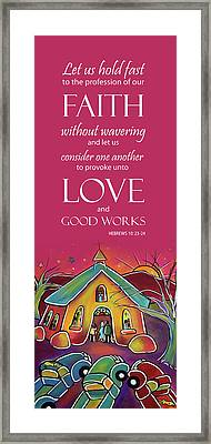 Framed Print featuring the painting Devotional Art Banner - Scripture From Hebrews by Jan Oliver-Schultz