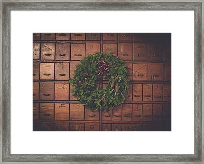 Dewey Decimal Wreath Framed Print