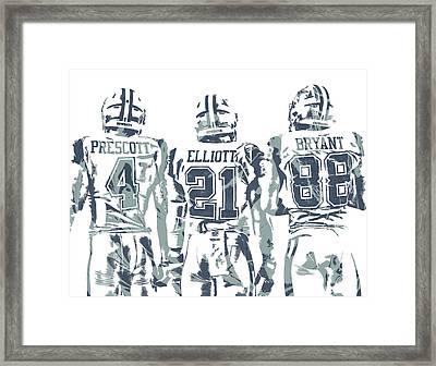 Dez Bryant Ezekiel Elliott Dak Prescott Dallas Cowboys Pixel Art Framed Print