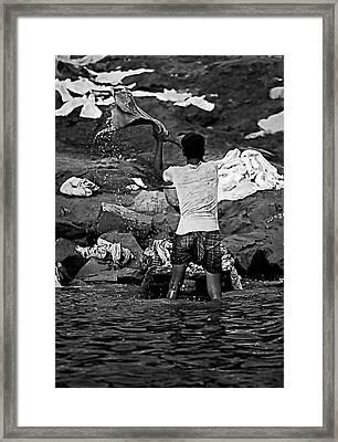 Dhobi Wallah Bw Framed Print by Steve Harrington