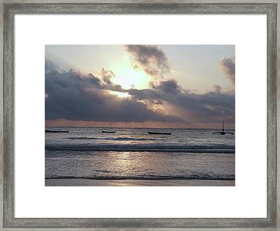 Dhow Wooden Boats At Sunrise 1 Framed Print