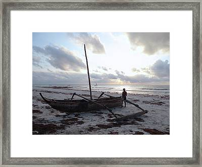 Dhow Wooden Boats At Sunrise With Fisherman Framed Print