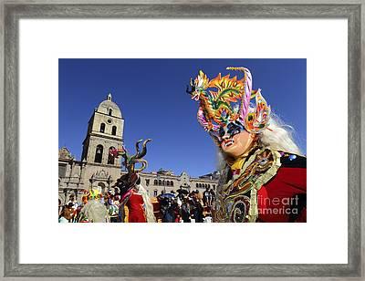 Diablada Dancer And San Francisco Church Framed Print by James Brunker